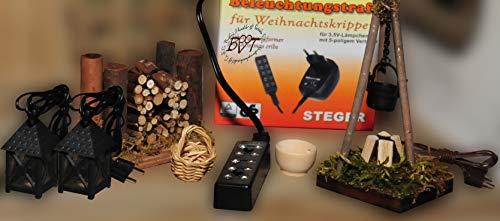 BTV Laterne mit Lagerfeuer F3 + Trafo, 7-TLG. Set - Krippenbeleuchtung, Beleuchtung für Weihnachtskrippe, 220V / 3,5 V Krippenzubehör mit Kabel und Anschlüssen,Krippe Modellbau Puppenstube