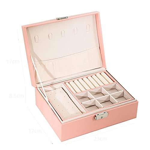 Nuevo diseño PU Caja de joyería de Cuero de la PU Caja de Madera de Doble Capa Princess Pantalla de la exhibición Mujer Regalo con Cerradura(Rosa)