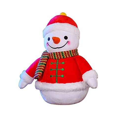 Decorazioni di peluche pupazzo di neve, peluche pupazzo di neve farcito, simpatico pupazzo di neve natalizio con cappello di peluche rosso, sciarpa, vestiti e naso, 18 cm / 22 cm / 32 cm per l'ufficio