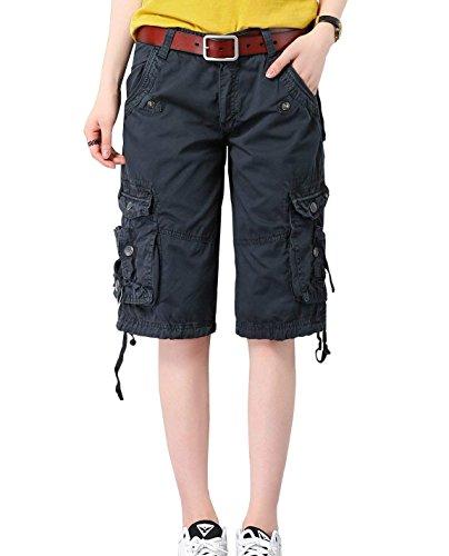 Minetom Bermuda Cargo Shorts Damen Knielang Sommer Kurze Hose Frauen Lose Stretch Boyfriend Knopfleiste Tasche Stoffhose Leinenhose Freizeithose Große Größen Dunkelblau XX-Large