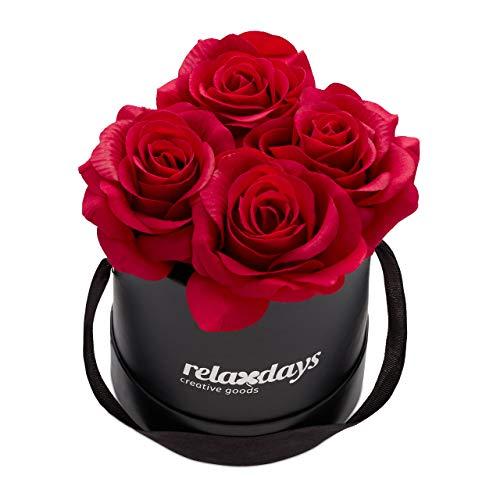 Relaxdays Rosenbox rund, 4 Rosen, stabile Flowerbox schwarz, 10 Jahre haltbar, Geschenkidee, dekorative Blumenbox, rot
