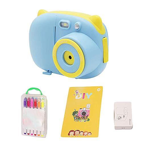 LHR Sofortbildkamera, 2,4 Zoll Sofortbildkamera Für Kinder Kamera Spielzeug Mit WiFi + Druckerpapier + Farbpinsel + Malbuch,Blau
