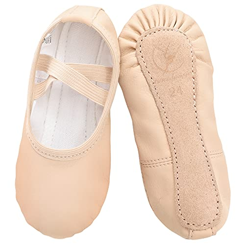 Scarpe da Danza in Pelle Classica Scarpe da Ballerina con Suola Intera in Cuoio Ginnastica Ballo Pantofole per Bambina Ragazze e Donna