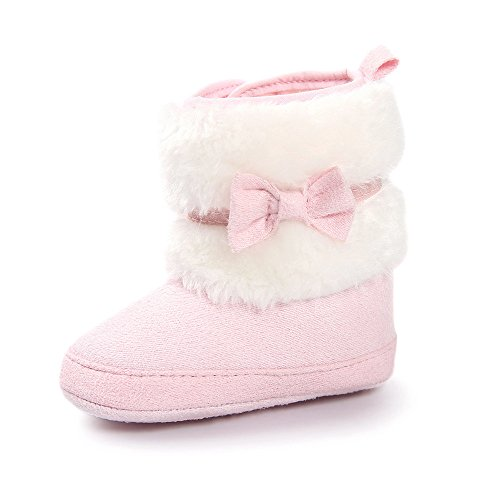 ESTAMICO Baby Girl Plush Winter Snow Bowknot Boots Pink 3-6 Months