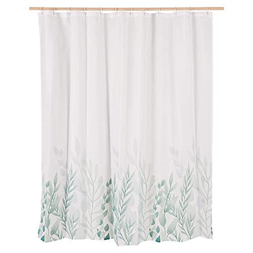 Navaris Duschvorhang 180x180 cm - Badewannen Stoff Vorhang lang mit 12 Kunststoff Ringen - schnelltrocknend - Farn Blatt Design - grün weiß