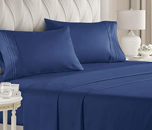Queen Size Sheet Set – 4 Piece – Hotel Luxury Bed Sheets – Extra Soft – Deep Pockets – Easy Fit – Breathable & Cooling – Wrinkle Free -Comfy – Navy Blue Bed Sheets – Queen Royal Sheets – Fitted Sheets