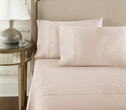 Luxury 100% CEA Certified Egyptian Cotton Sheet Bed Set | Extra-Long Staple | Cool, Breathable, Ultra Comfort | Double Hem-Stitched | Flat, Fitted, and 2 Pillow Cases (Soft Peach, California King)