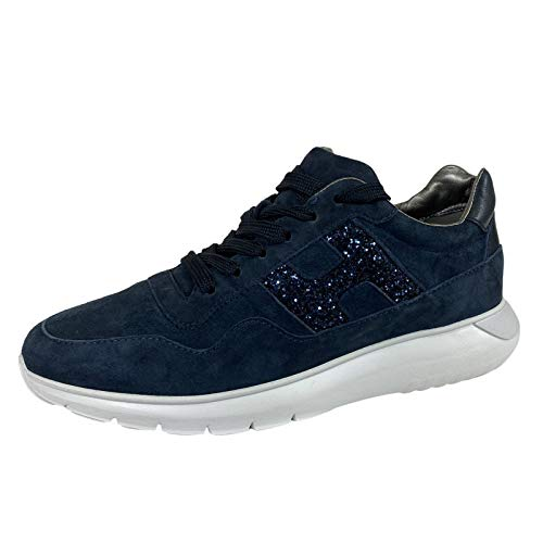 Hogan E77 Sneakers Donna H371 INTERACTIVE3 Suede Blue Shoes Women [38.5]