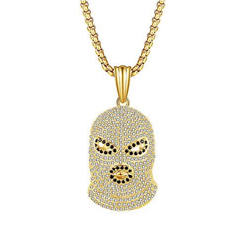 Bofum Herren Hip Hop Rapper Schmuck Fashion Iced Out Voller Diamanten Maske Halskette Anhänger 65 cm Schlangenknochenkette