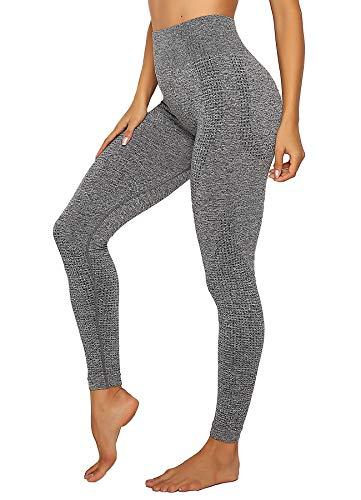 INSTINNCT Damen Yoga Lange Leggings Slim Fit Fitnesshose Sporthosen #4 Klassische Stil - Grau L