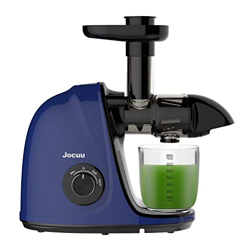Jocuu Juicer, Slow Masticating Juicer Machine, Cold Press Juicer Extractor Easy to Clean, Soft/Hard Dual-Speed, Quiet Motor, Reverse Function Anti-Clogging, with Brush and Recipe