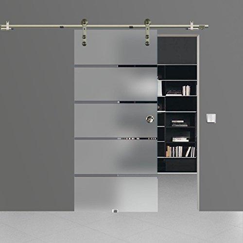 BP1-1025A: Schiebetürsystem ESG 1025x2050x8mm Dekor P1, Siebdruck; Edelstahl Laufrollensystem SoftStop; Griffmuschel