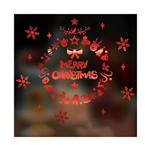 ANQIY Navidad Etiqueta De La Ventana, Elegante Impermeable Feliz Navidad Decoración De Bricolaje para Escaparate Puerta (Color : Rojo, tamaño : Pequeño)