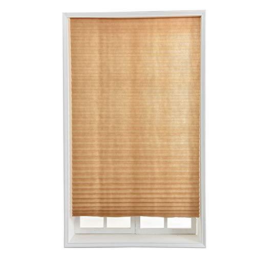 Almabner persiana plisada opaca, persiana de cortinas, autoadhesiva, no tejida, para ventana del hogar, balcón, cocina, oficina, marrón, 60*150
