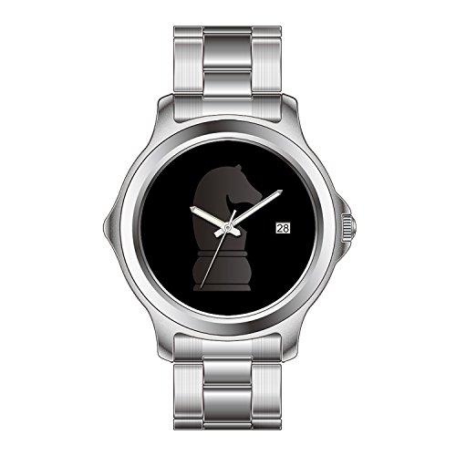 FDC–Navidad Regalo Relojes Mujer Fashion Fecha de Cuarzo japonés Reloj de Pulsera de Acero Inoxidable Negro Caballero de ajedrez