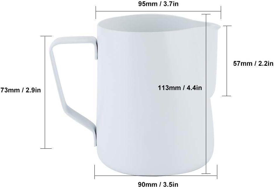 Jarra para hacer espuma de leche para capuchino jarra para hacer espuma para leche espresso jarra para vaporizar espresso para espumar leche para Latte Art Espresso white