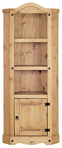 Corona Corner Display Unit Bookcase, Mexican Solid Pine