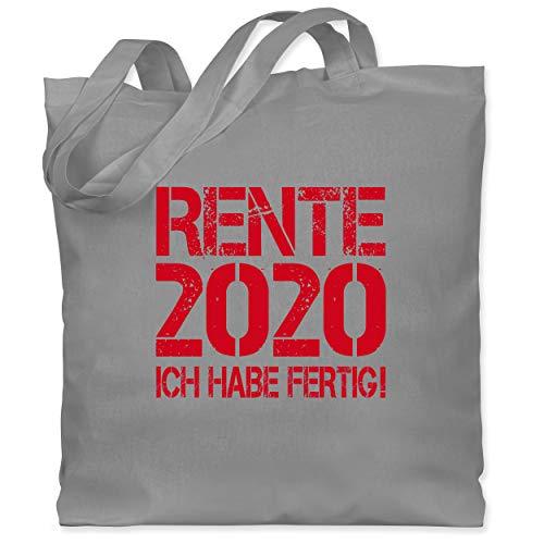 Shirtracer Statement - Rente 2020 - Ich habe fertig! - Unisize - Hellgrau - stoffbeutel 2020 fertig - WM101 - Stoffbeutel aus Baumwolle Jutebeutel lange Henkel