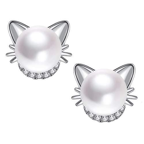 Katze Ohrringe 925 Sterling silber Ohrstecker mit Perle 6mm Süßwasser-Zuchtperlen für mädchen