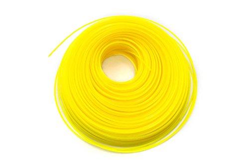 vhbw Mähfaden Trimmerfaden mit 2mm Durchmesser für Rasentrimmer Motorsense - 100 Meter, Gelb, Nylon, widerstandsfähig - Rasentrimmerfaden Ersatzfaden