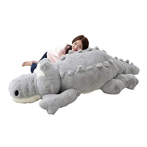 YunNasi Krokodil Kuscheltiere XXL Riesen Pluschtier süße Geschenk für Geburtstag Valentinstag Muttertag (grau 160cm)