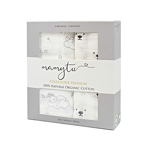 Copertine neonato Mamytu -  2 Mussole 100% Cotone Biologico qualità Premium ipoallergenico per neonati - Brand Italiano- Morbide Copertine 120x120cm - Confezione regalo - Copertina avvolgente (Unisex)