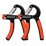 E-More Hand Grip Strengthener (2 Pack), 5-60kg Adjustable Hand Grip Exerciser Forearm Wrist Exerciser Therapy...