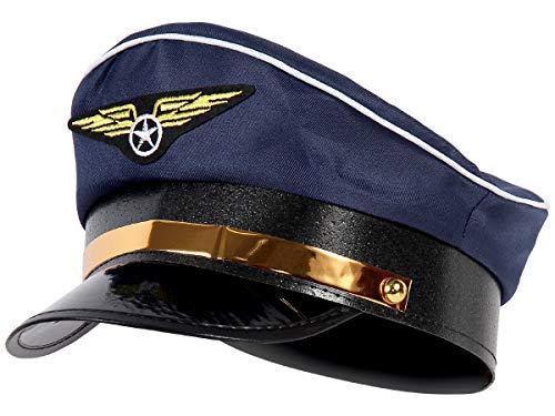 Alsino Pilotenmütze Marine blau Fliegermütze Pilot Flugkapitän Mütze mit Fliegeremblem 182