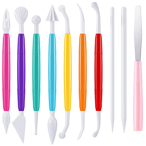 Outus Plastic Clay Tools Modeling Clay Tools for Kids Shaping and Sculpting, Assorted Colors (10)