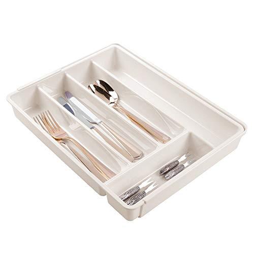mDesign Cubertero de plástico libre de BPA extensible para cajones y muebles de cocina – Organizador de cocina con 6 compartimentos – Separador de cajones de cocina, baño u oficina – color crema