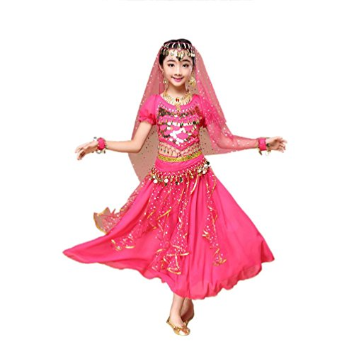 Hunpta @ Kinder Mädchen Bauchtanz Outfit Kostüm Indien Dance Kleidung Top + Rock (Hot Pink, 120~135cm)