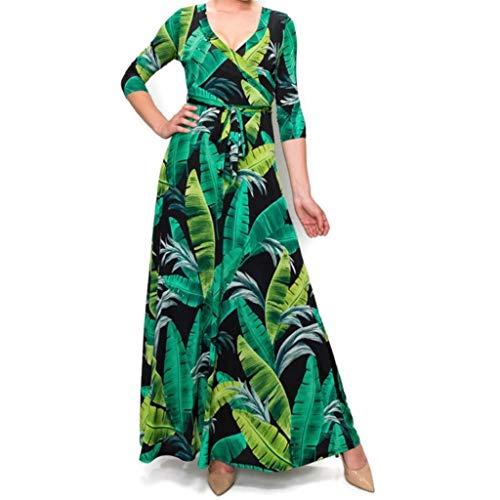 Janette Fashion Black Green Banana Leaves Faux Wrap Maxi Dress
