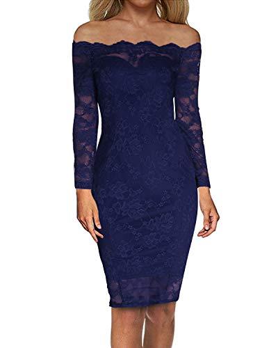 Auxo Damen Langarm Kleider mit Spitze Schulterfreie Elegant Knielang Abend Etuikleid Blau EU 38/Etikettgröße M