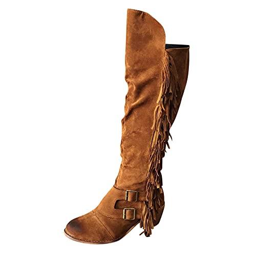 Geilisungren Overknees Stiefel Damen Braun Flach 38 Langschaft Cowboy Stiefel mit Fransen Boots Pumps Halblange Stiefel Sexy Biker Boots Schlupfstiefel Westernstiefel Langschaftstiefel Plateau Schuhe