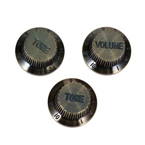 milisten 3 Stks Gitaarknoppen Volume Toonknoppen Versterker Knoppen Bedieningsknoppen Voor Elektrische Gitaar Bas Vervanging Deel 1 Volumes 2 Tonen (Zwart)