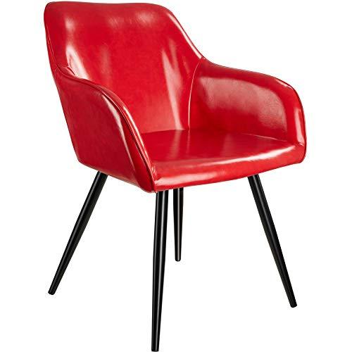 tectake 800848 Silla de Comedor tapizada en Piel sintética, Silla Elegante para el salón, Sillón para la Cocina, Mueble de Interior (Rojo-Negro)