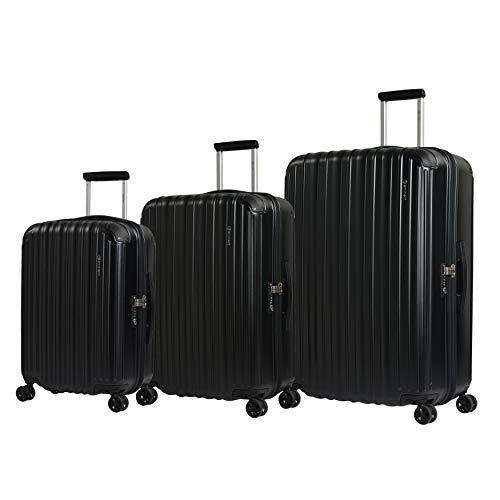 Eminent Juego de Maletas Move Air Neo Set de 3 Maletas de Viaje Ligeras Protección Adicional en Las Esquinas y Superficie Anti rasguños Negro