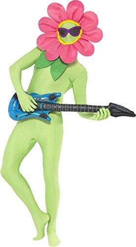 Smiffys Kit de Flor Bailando, Verde, Pieza para la Cabeza con Gafas y Guitarra Hinchable