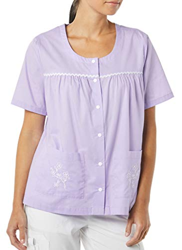AmeriMark Women's Snap Front Smock Top – Short Sleeve Shirt with Patch Pockets Lilac 0XL