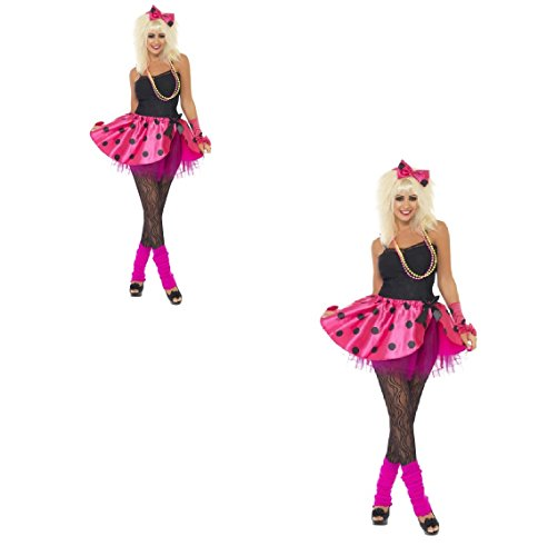 Womens Pink Tutu Instant Kit, Neon Pink, With Tutu, Headband and Finger less Gloves 80's Madonna Hen Do/Festival/Carnival/Party Fun (UK Dress 12-14 (M))