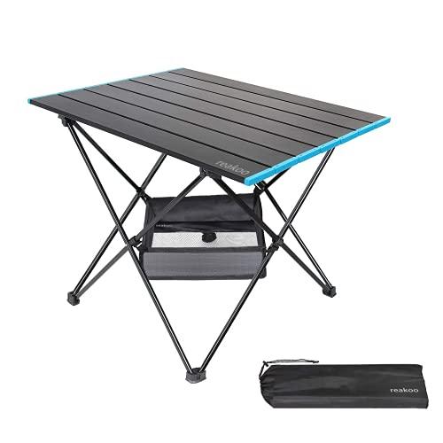 Mesa de camping portátil con tablero de aluminio, plegable, ultraligera, compacta, con bolsa de transporte, para exteriores, playa, barbacoa, picnic, cocina, festival, interior