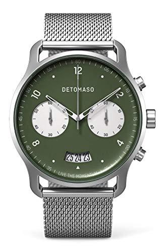DETOMASO SORPASSO Cronógrafo bicolor verde reloj analógico de cuarzo malla milanesa reloj de pulsera plata