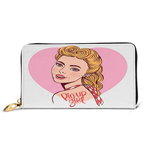 Women's Long Leather Card Holder Purse Zipper Buckle Elegant Clutch Wallet, Hand-Drawn Effect Smiling Blonde Girl In Vintage Pin Up Style On Heart Backdrop,Sleek and Slim Travel Purse