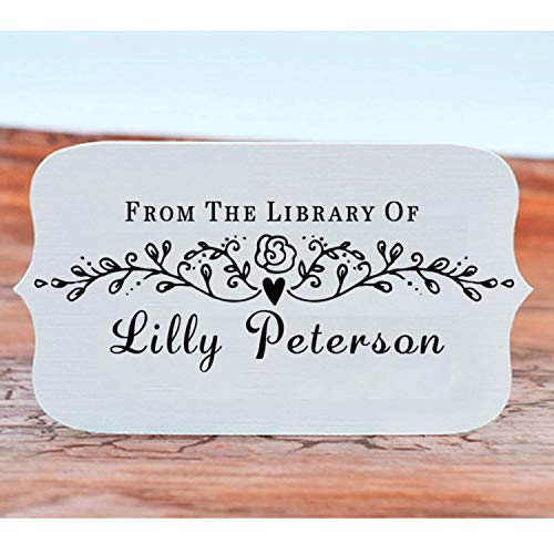 "Book Stamp Thank You Stamp This Belongs to Personalized Self-Inking or Wood Handle Custom Classroom Library Teacher Customized Name from The Ex-Libris of 7/8"" x 2 3/8"" Photo #3"