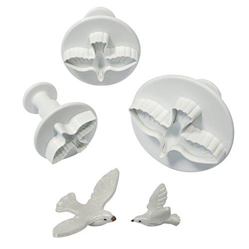 PME DV1010 Prägeausstecher mit Taubenmotiv, kleines, mittleres und großes Format, Kunststoff, Weiß, 9 x 2 x 9 cm