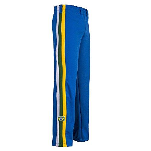 JL Sport Authentique Brésilien Capoeira Arts Martiaux Pantalon Homme Bleu (avec Brésil National Couleurs Along Vertical Jambe Rayures) - Bleu, Bleu, Medium (30-32\