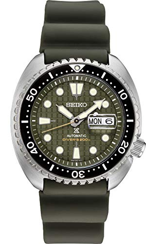 Seiko Men's Prospex Stainless Steel Automatic Self Winder Diving Watch with Silicone Strap, Green, 22 (Model: SRPE05)