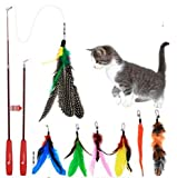 Zhicaikeji Gato de Juguete para Mascotas, Tres Secciones, telescópico, Divertido Conjunto de Bastones para Gatos con 7 Cabezas de Repuesto
