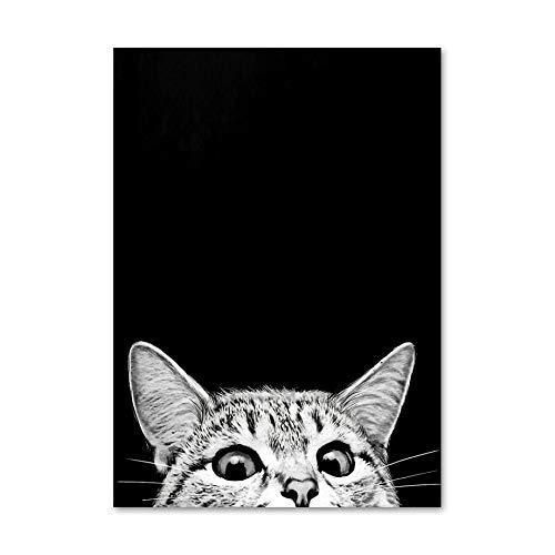 Divertido gatito gato negro niños nórdicos carteles e impresiones murales lienzo pintura murales salón salón decoración 30x45 cm SIN marco