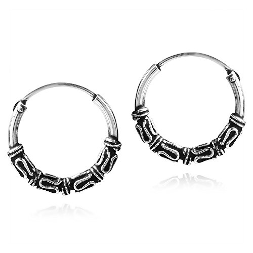 Balinese Interlace Tribal Ornate Sterling Silver Hoop Earrings